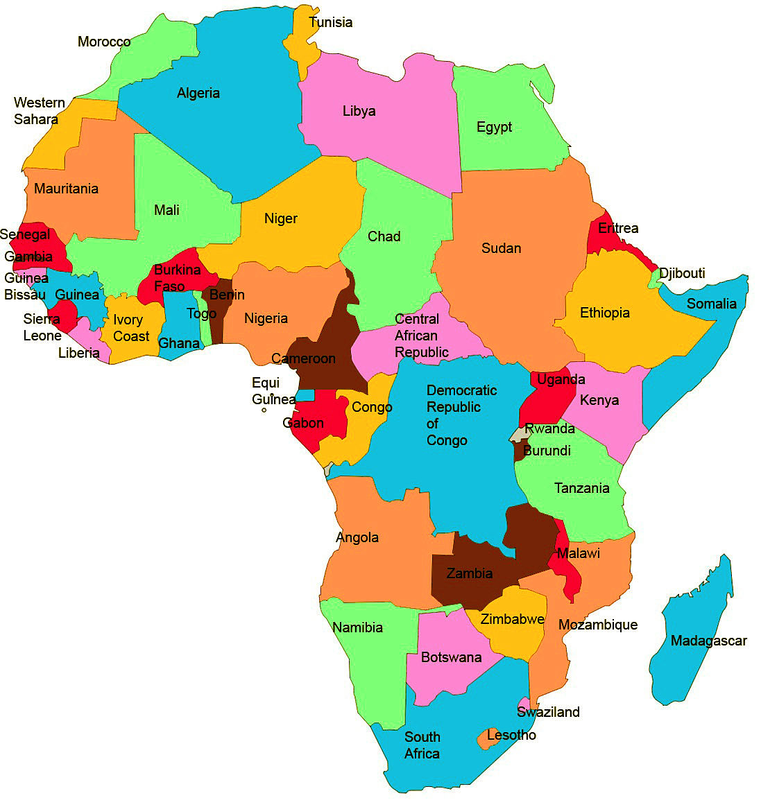 Africa Map For Students | Jackenjuul
